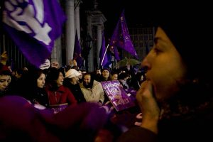 Women gather for 8th March demonstration in Beyoglu. Women in Turkey still struggle for their rights against discrimination, oppression and patriarchal system which draw women away from political, economical and social life. They continue to raise their voices against increasing domestic violence, sexual harrasment, rape, honour killings, being discriminated because of their sexual choices. poverty, invisible labor at home, cheap labor at work and war in general.